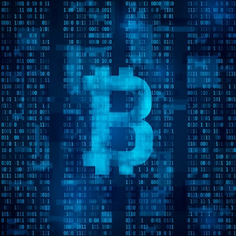 Bitcoin digital currency. symbol of bitcoin on blue binary code.