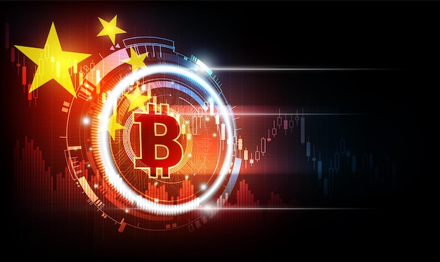 Bitcoin digital currency with china flag background china regulators ban crypto trading and mining
