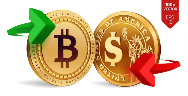 Bitcoin to dollar currency exchange. bitcoin. dollar coin. cryptocurrency.