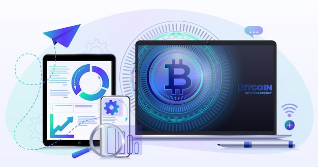 Bitcoin electronic money cryptocurrency digital global currency icons process classification