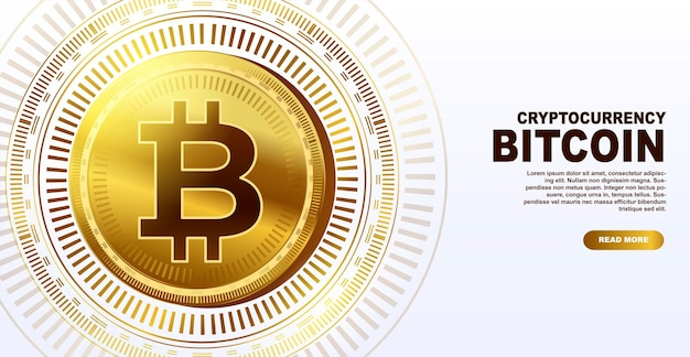 Bitcoin electronic money cryptocurrency template for a web page banner vector illustration