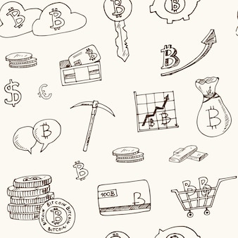 Bitcoin elements hand drawn doodle seamless pattern