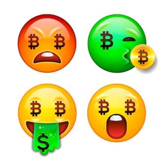 Набор символов криптовалюты bitcoin emoji с различными эмоциями векторная иллюстрация