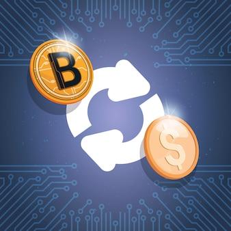 Bitcoin exchange icon цифровая криптовалюта современные веб-деньги