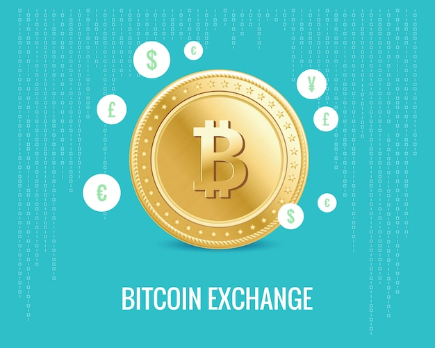 Bitcoin exchange illustration with currency icons