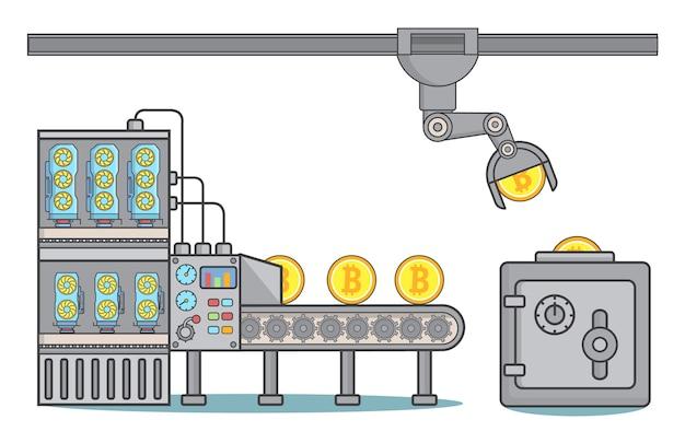 Иллюстрация концепции фабрики биткойнов в линейном стиле