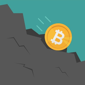 Bitcoin falls down the rock. cartoon flat style vector illustration. crypto currency concept. business concept