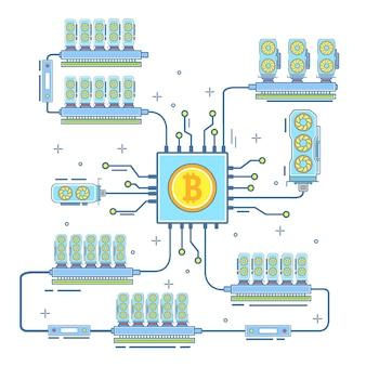 Bitcoin farm illustration in flat linear style