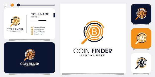 Bitcoin finder logo with modern concept premium vector