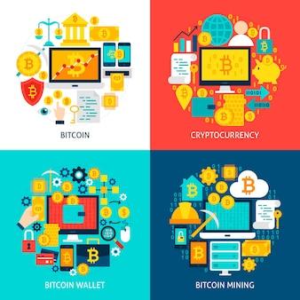 Bitcoin 평면 개념. 포스터 디자인 벡터 일러스트 레이 션. cryptocurrency 개체 집합입니다.