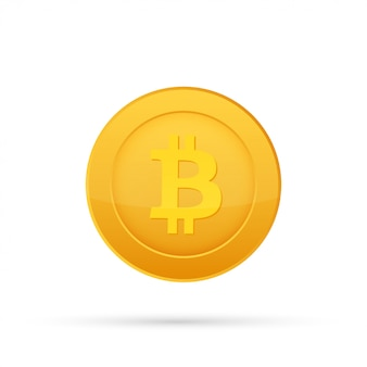 Bitcoin flat icon. crypto currency bit coin. cryptocurrency emblem. isolated