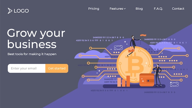 Bitcoin flat mini persons vector illustration landing page template design.