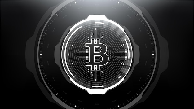 Bitcoin futuristic scifi technology cryptocurrency textured coin hitech illustration