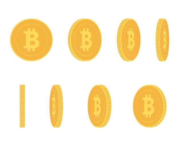 Биткойн золотая монета под разными углами для анимации набора векторов