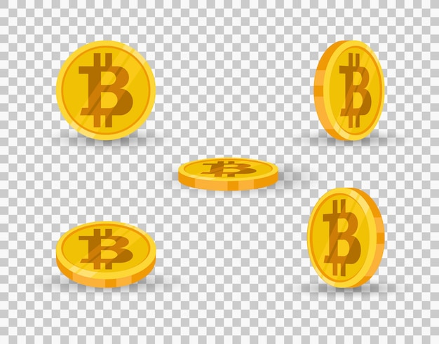 Bitcoin gold coin icon set in different angles isolated on transparent background.