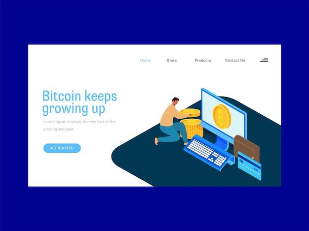 青と白の色のビットコイン成長ベースのランディングページデザイン。