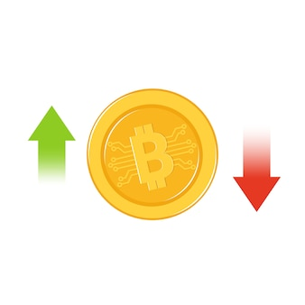 Bitcoin growth and fail concept
