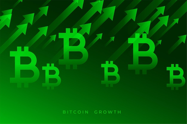 Bitcoin growth graph with upward green arrows
