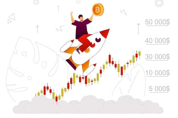 Веб-концепция роста биткойнов, развивающаяся прибыль криптовалютного бизнеса на биржевой диаграмме