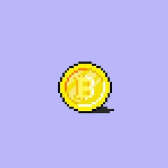 Биткойн значок в стиле пиксель-арт