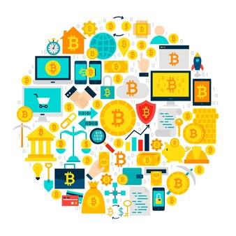 Bitcoin 아이콘 원입니다. 화이트 이상 격리 cryptocurrency 평면 개체의 벡터 일러스트 레이 션.