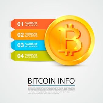 ビットコインインフォグラフィックビジネスファイナンスカラーオプション。ベクトルイラスト