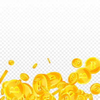 Bitcoin, internet currency coins falling. exquisite scattered btc coins. cryptocurrency, digital money. ecstatic jackpot, wealth or success concept. vector illustration.