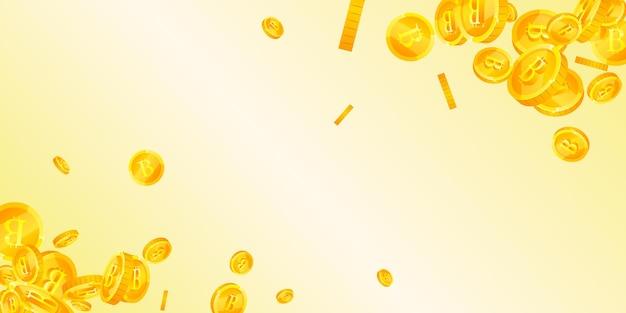Биткойн, падают монеты интернет-валюты. получение разрозненных монет btc. криптовалюта, цифровые деньги. справедливая концепция джекпота, богатства или успеха. векторная иллюстрация.