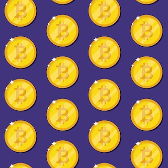 Bitcoin internet currency coins seamless pattern. gold coins on a blue background. cryptocurrency. illustration