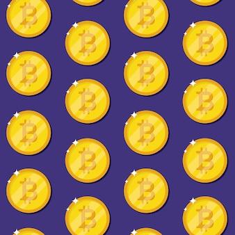Биткойн интернет валюты монеты бесшовные модели. золотые монеты на синем фоне. криптовалюта. иллюстрация