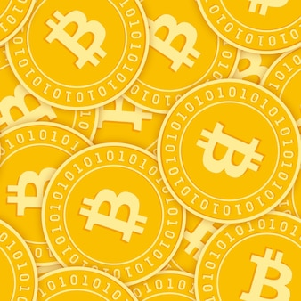 Bitcoin, internet currency coins seamless pattern. splendid scattered btc coins. big win or success
