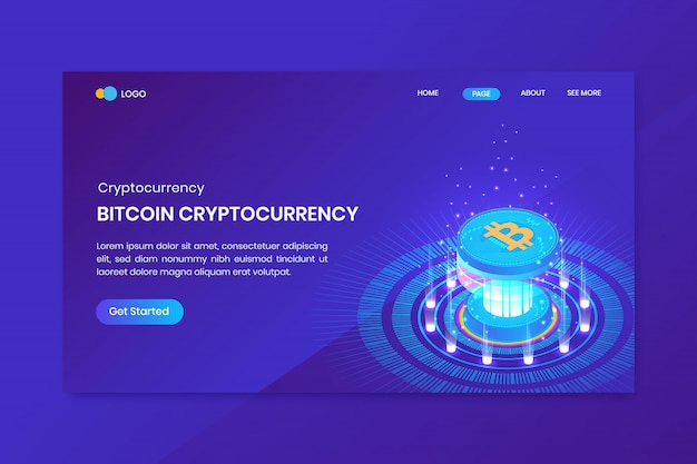 Bitcoin isometric cryptocurrency landing page