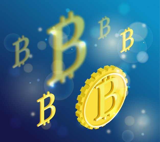 Bitcoin isometric isolated icons