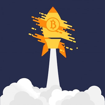 Bitcoin launching rocket on purple background