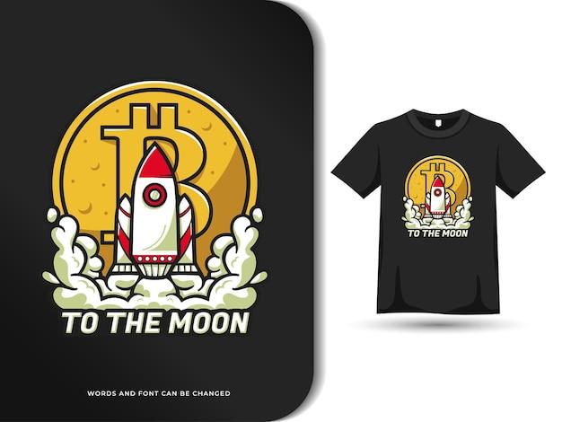 Tシャツテンプレートで月のデザインにロケットを発射するビットコイン