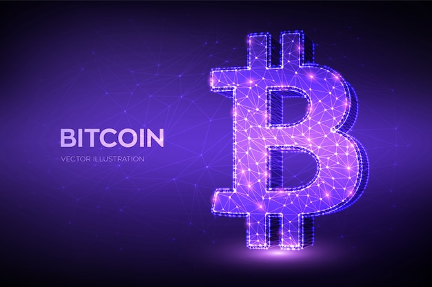 Bitcoin. low polygonal abstract mesh line and point bitcoin sign. crypto currency, virtual electronic, internet money.