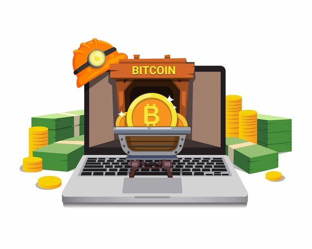 Биткойн-майнинг бизнес с ноутбуком и денежным концептом мультфильма