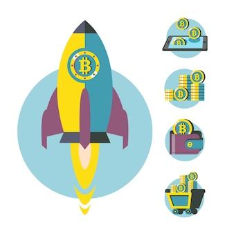 ビットコインマイニング。概念図。ビットコインマイニングアイコン。ベクトルクリップアート。