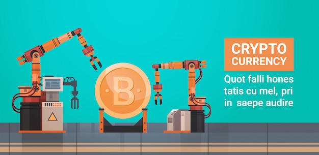 Bitcoin mining crypto currency robotic production concept