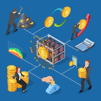 Bitcoin mining and cryptocurrency exchange elements set
