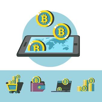 ビットコインマイニング。暗号通貨は未来の通貨です。スマートフォンとビットコイン。概念的なベクトルイラスト。ビットコインマイニングアイコン。