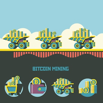 Биткойн-майнинг. криптовалюта. векторный концепт. самосвал везет биткойны. набор векторных эмблем. тележка с биткойнами, кошелек с биткойнами, стопка монет.