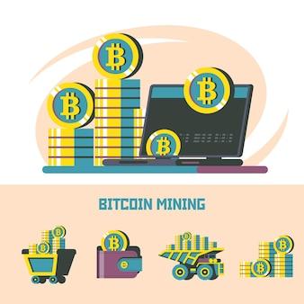 Биткойн-майнинг. криптовалюта. векторный концепт. набор векторных эмблем. ноутбук и стопка монет.