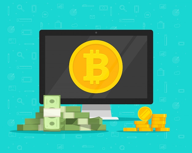 Bitcoin mining earn concept and paper money exchange