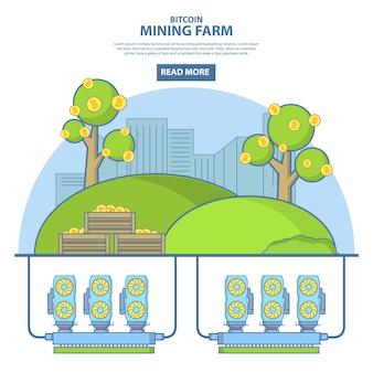 Иллюстрация концепции фермы по добыче биткойнов в линейном стиле