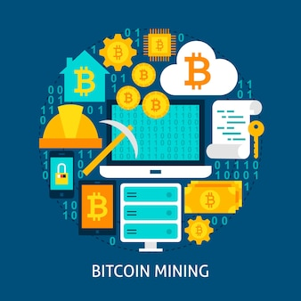 Bitcoin mining flat concept. poster design vector illustration. set of cryptocurrency objects.