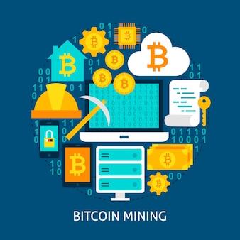 Bitcoin 마이닝 평면 개념입니다. 포스터 디자인 벡터 일러스트 레이 션. cryptocurrency 개체 집합입니다.