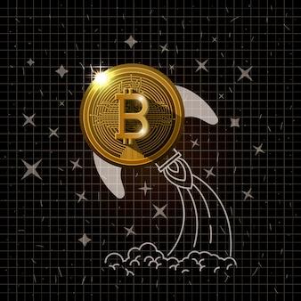 Bitcoinマイニングゴールドセットアイコンベクトルイラストデザイン