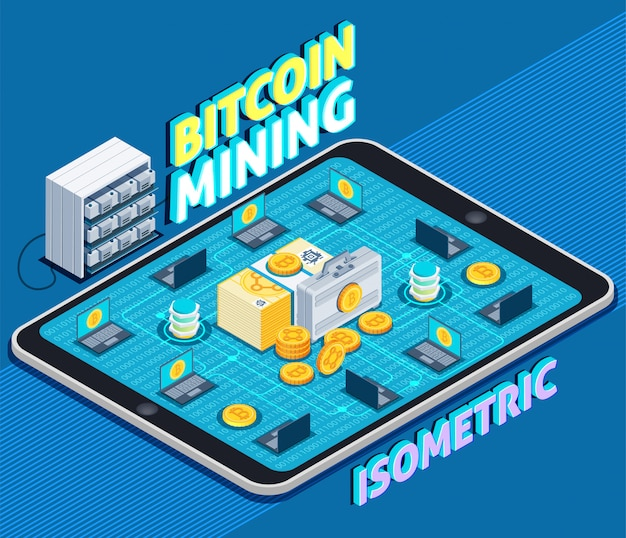 Bitcoin mining isometric composition