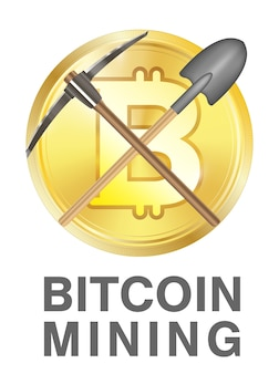 Bitcoin mining logo with pickaxe and shovel